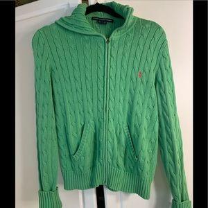Ralph Lauren green cable knit zip hoodie sweater